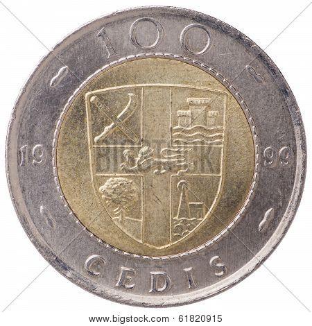 100 Ghana Cedis (second Cedi) Coin, 1999, Back