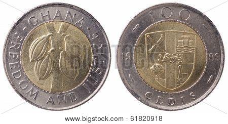 100 Ghana Cedis (second Cedi) Coin, 1999, Both Sides