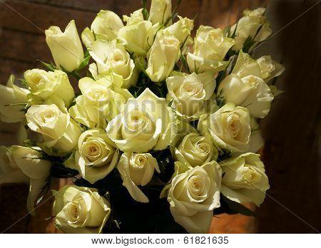 Bunch Of Greenish White Roses