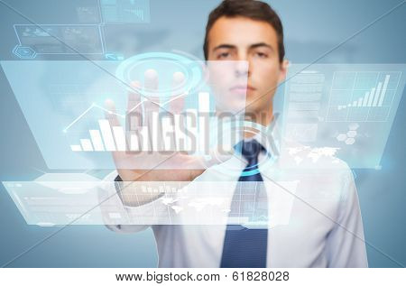 business and office, ban, veto, warning concept - attractive buisnessman working with birtual screen