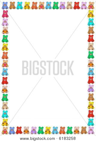 white background with a border out of little colorful teddies poster