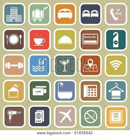 Hotel Flat Icons On Yellow Background