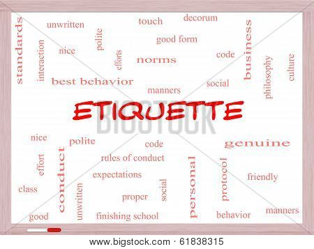 Etiquette Word Cloud Concept On A Whiteboard