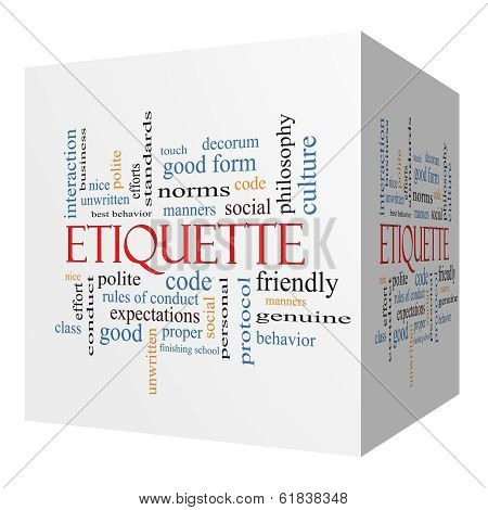 Etiquette 3D Cube Word Cloud Concept