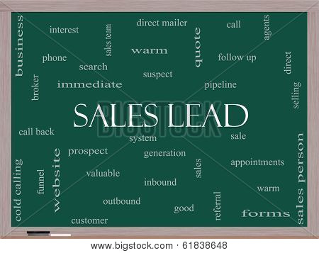 Sales Lead Word Cloud Concept On A Blackboard
