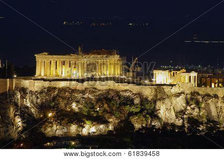 Parthenon night view, Acropolis Athens , Greece
