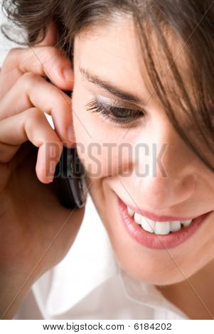 Young Woman Talking By Telephone