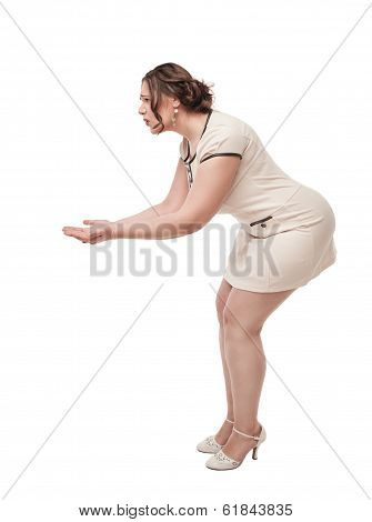 Beautiful Plus Size Woman Holding Something On Her Hand