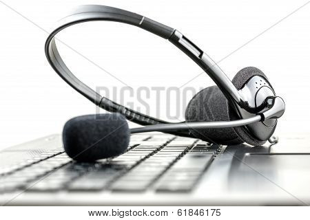 Headset On A Laptop Computer