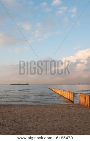 Beach Of Breskens With Sunset