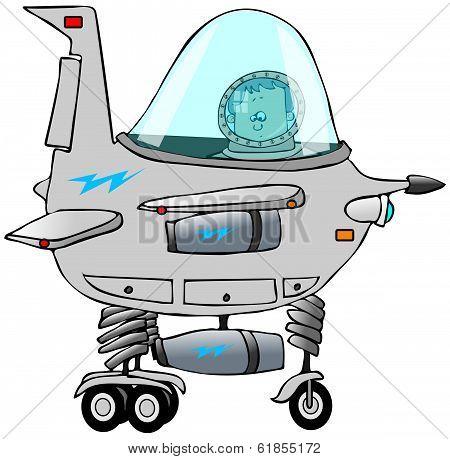 Boy piloting a starship