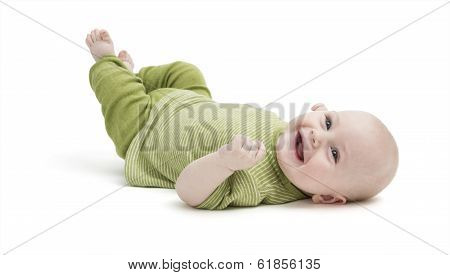 Happy Toddler Lying On His Back