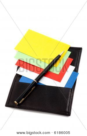 Stack Of Colorful Cards In Card Holder