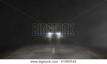 3D Illustration of headlights on dark road