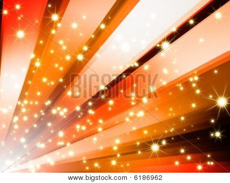 Abstract glitter sparkle stars on orange background poster