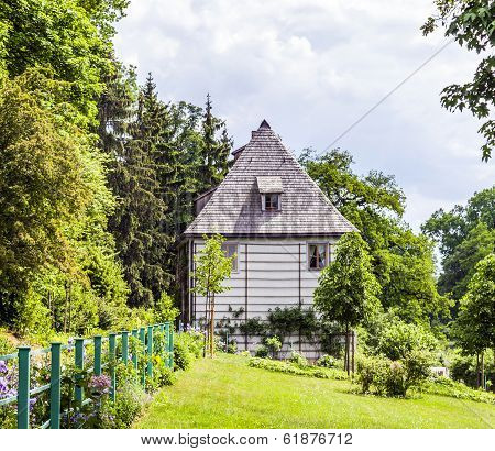 WEIMAR, GERMANY - AUG 7, 2013: Goethe's Garden House at Park an der Ilm in Weimar Germany