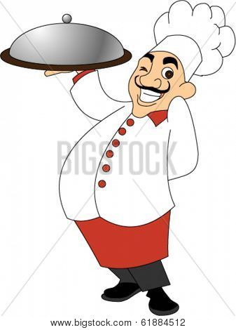 Chef Holding Pizza Tray