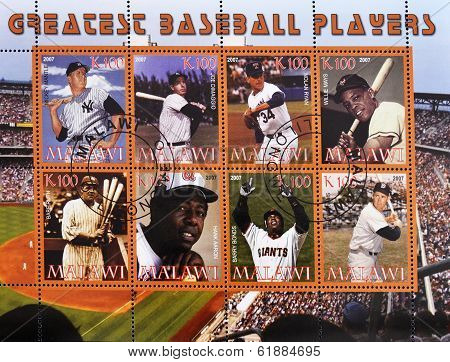 MALAWI - CIRCA 2007: A stamp printed in Malawi shows greatest baseball players serie circa 2007