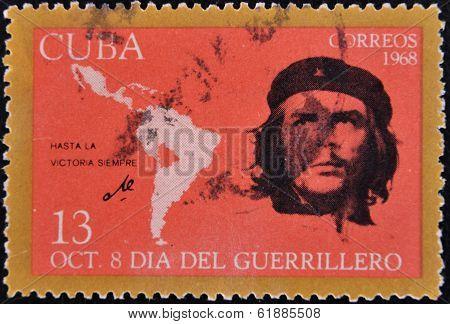 CUBA - CIRCA 1968 : A stamp printed in Cuba shows Ernesto Che Guevara- legendary guerrilla