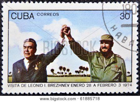 CUBA - CIRCA 1974 : A stamp printed in Cuba show leader of USSR Leonid Brezhnev and Fidel Castro
