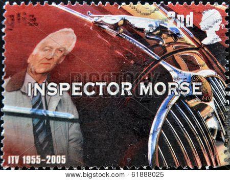 UNITED KINGDOM - CIRCA 2005: A stamp printed in Great Britain shows inspector Morse circa 2005