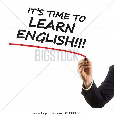 businessman hand with felt tip marker writing text it is time to learn english