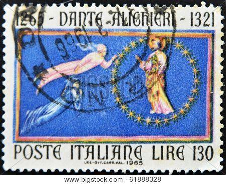 ITALY - CIRCA 1965: A stamp printed in Italy shows Dante Alighieri circa 1965