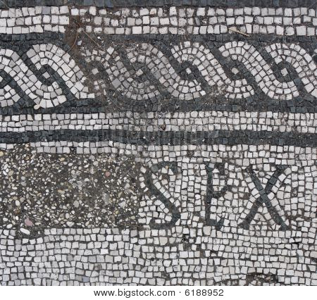 Fragment Of Antique Mozaic With Letters Sex