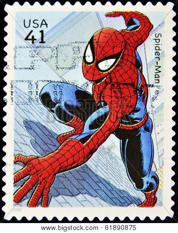 UNITED STATES - CIRCA 2007: a postage stamp printed in USA showing an image of spider-man
