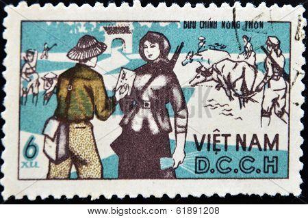 VIETNAM - CIRCA 1970: A stamp printed in Vietnam shows a farmer receiving a letter
