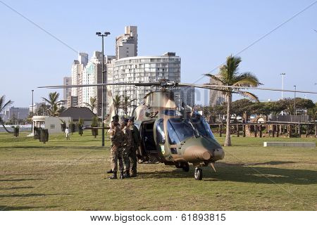 Helicopter And Military Prsonel On Beach Front In Durban