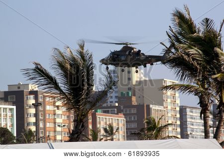 Military Helicopter Landing On Durban Beachfront