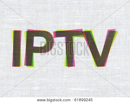 Web development concept: IPTV on fabric texture background