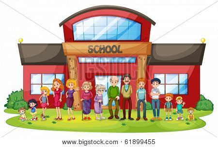 Illustration of a big family in front of the school building on a white background