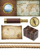 nautical objects set isolated: ship window or porthole, old treasure map, spyglass, brass compass, pirates chest and ropes poster