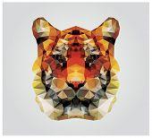 Geometric polygon tiger head, triangle pattern design, vector illustration poster