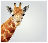 Geometric polygonal giraffe, triangle pattern design, vector illustration poster