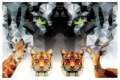 Collection of geometric polygon animals, tiger, giraffe, antelope, triangle pattern design, vector illustration poster