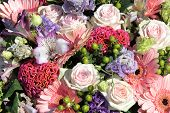 Bouquet of mixed flowers in pink tones poster