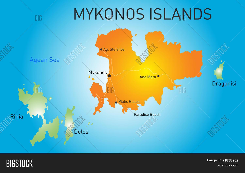Vector Color Map Island Mykonos Vector Photo Bigstock