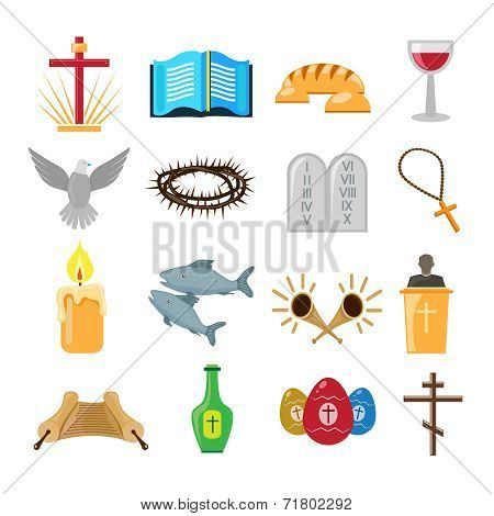 Christianity icons set