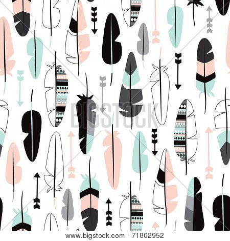 Seamless indian summer pastel aztec geometric feathers and arrow illustration background pattern in vector