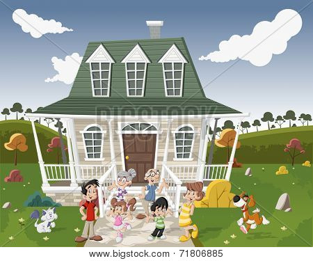 Happy cartoon family with pets in front of a country house in suburb neighborhood.
