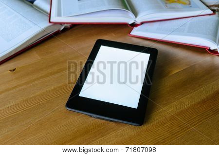 Lightweight E-book (electronic Reader) Compared To Heavy Thick Books