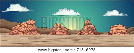 Desert background. Vector clip art illustration with simple gradients. Static background, mountains, clouds and foreground on separate layers. Foreground can be used as a seamless pattern.