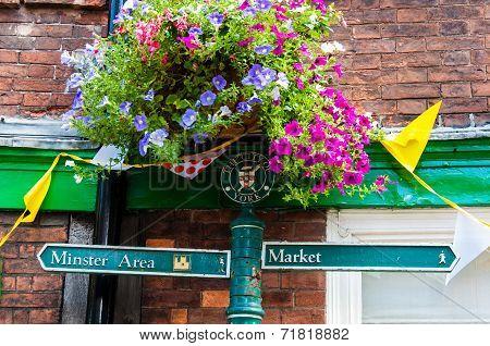 York, United Kingdom - August 9, 2014: Closeup On Tourist Sign Posts In City Of York, Uk.york