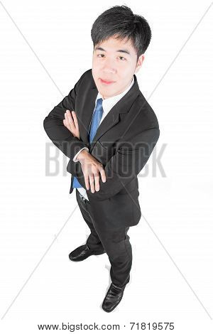 Asian Young Businessman Stnading And Arms Crossed. Top View (clipping Path)