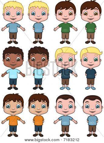 Boys - vector illustration set
