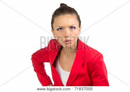 Portrait of dissenting business woman