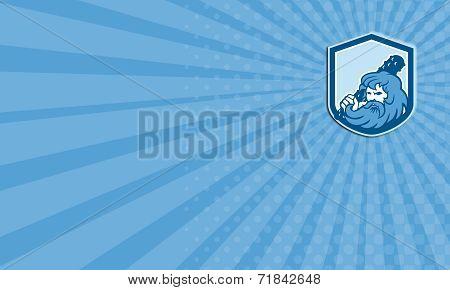 Business Card Hercules Wielding Club Shield Retro